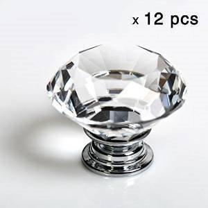 IQUALITE 12pcs Diamond Shape Crystal Glass 30mm Drawer Knob Pull Handle Usd for Caebinet, Drawer -