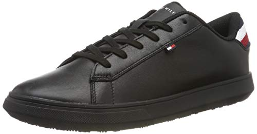 Tommy Hilfiger Herren Essential Leather Detail Cupsole Sneaker, Schwarz (Black 990), 42 EU -