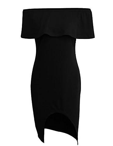 SunIfSnow - Chemise de nuit spécial grossesse - Asymétrique - Tie-Dye - Manches Courtes - Femme noir noir XXL