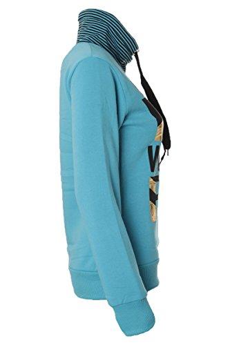Fleece Pullover Sport Style mit Stehkragen & Print Blau