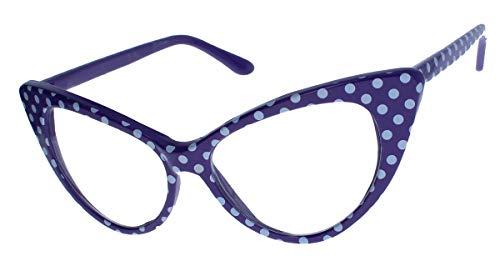 50er Jahre Damen Brille Cat Eye Nerdbrille Klarglas Brillengestell FARBWAHL KE (Polka Dots lila)