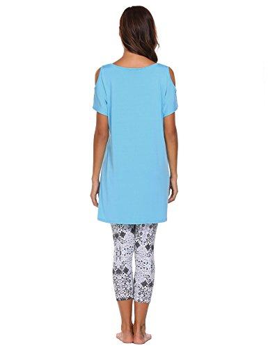 EKOUAER Damen Hausanzug Rundhals Capri Pyjama Sportanzug Kurzarm Kaltschulter Nachthemd mit 3/4 Floral Fitness Leggings loose Elegant Blau