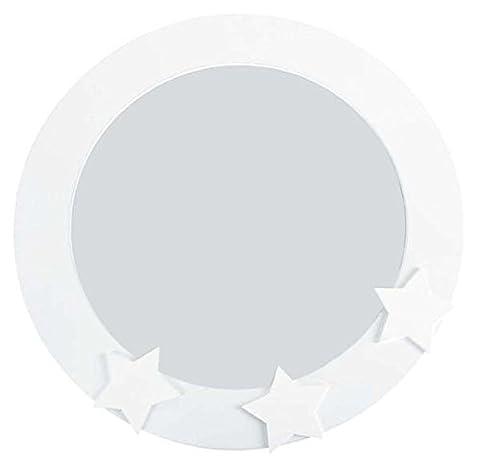 runder Spiegel mit weißem Holzrahmen und Sternen