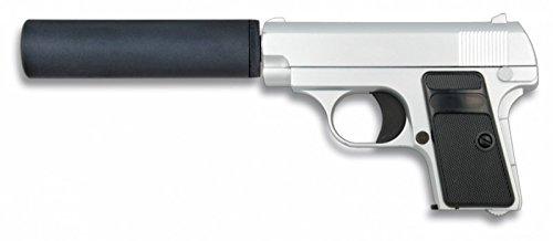 Galaxy 35720 - Pistola da softair a molla, serie metallica in color argento, peso 366 g, calibro 6 mm, potenza 68 m/s