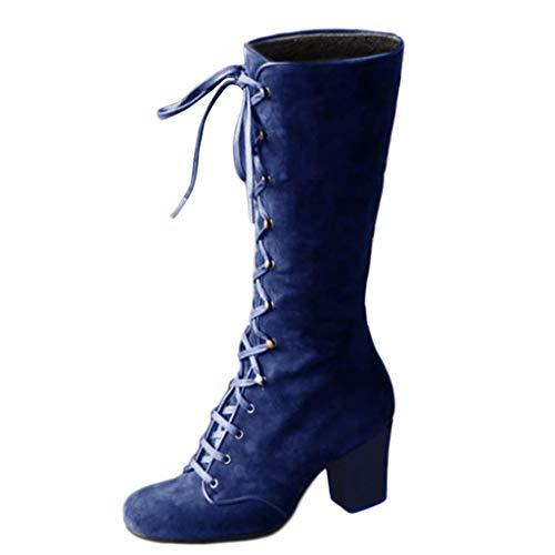 Vovotrade Damen Vintage Schnürstiefel Retro Suede Lace Up Langschaft Stiefel Mit Blockabsatz High Heels Damen Stiefel Overknees -