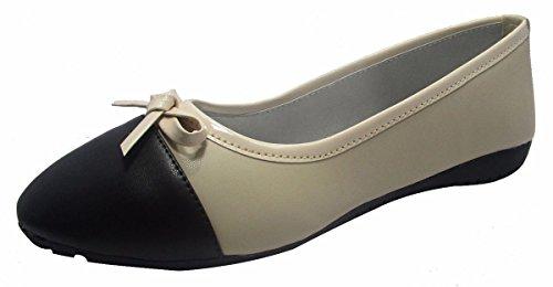 Sammy le style mocassin dérapant sur les chaussures casual ballerines ballet chaussures femmes Noir et blanc cassé