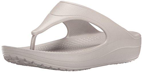 Crocs wn-platform flip, ciabatte donna, grigio (platinum), 38-39 eu