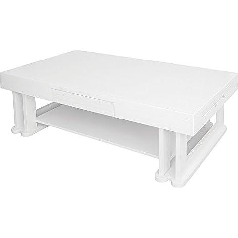 Tavolino rettangolare frassino massiccio laccato bianco lucido 1cassetto 1cerniera doppio