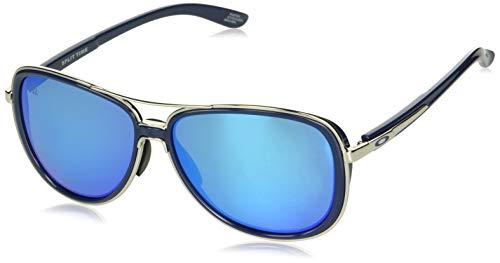 Oakley Women's Split Time Non-Polarized Iridium Aviator Sunglasses, Polished Chrome, 58.2 mm