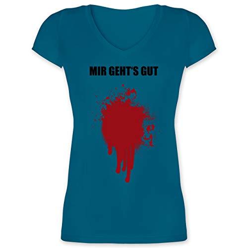 Gruppe Kostüm Arbeit Für - Halloween - Mir geht's gut Blutfleck Kostüm - XXL - Türkis - XO1525 - Damen T-Shirt mit V-Ausschnitt