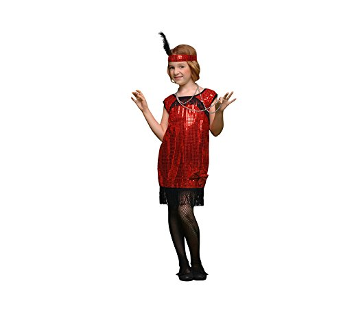 Imagen de disfraz de charlestón rojo en varias tallas para niña