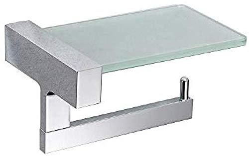 GKCDBY Toilettenpapierhalter mit Glasablage für Handy, Chrom