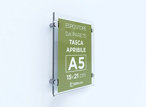 Espositore in plexiglass da parete, targa a tasca apribile in plexiglass, porta avvisi e depliant formato a5 verticale 15×21 cm, completa di distanziali in alluminio