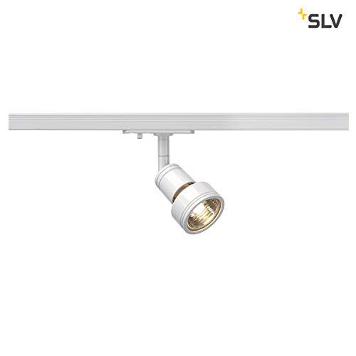 SLV LED Schienen-Strahler PURI | Dreh- und schwenkbarer 1-Phasen-Strahler, LED Spot, Deckenstrahler, Deckenleuchte, Schienensystem, Innenbeleuchtung, 1P-Lampe | GU10 QPAR51, weiß, max. EEK E-A++ -