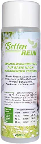 Daunenwaschmittel: Bettenrein, das sanfte Waschmittel Daunen für Daunenkissen, Daunendecken, Daunenjacken, Anoraks, Schlafsäcke und mehr | 250 ml -