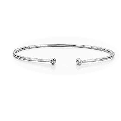 Orovi Damen Diamant Armband Weißgold, Armreif mit Diamanten 9 Karat (375) Gold und Diamanten Brillanten 0.11 Ct, 6.5 cm lang (Diamant Armbänder Armreifen)