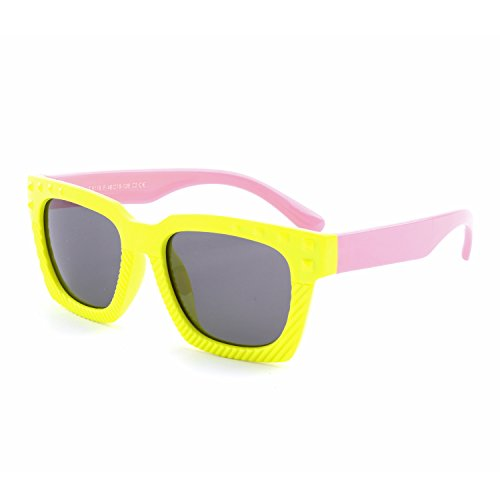 GQUEEN Gummi Flexible Kinder Rechteckige Polarisierte Sonnenbrille für Jungen Mädchen Baby und Kinder Alter 3-10,ET18
