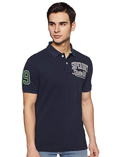 Superdry Herren Classic SUPERSTATE Pique Polo Poloshirt, Blau (Midnight 60h), Medium (Herstellergröße: M)