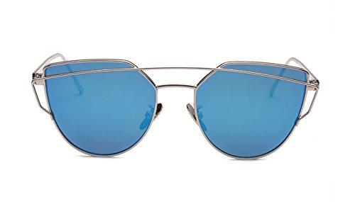 Zokra Newest Katzenaugen-Sonnenbrille Frauen-Marken-Designer Twin-Beams Sun-Glas-Spiegel-Sonnenbrille Flat Panel Liebe Schlags Klar Drop Ship [C7 Blaue Linse] (Blaue Twin-panel)