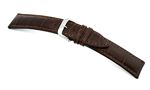 RIOS1931 Uhrenarmband Louisiana Crocodile Calf Mokka Bandanstoss 19 mm