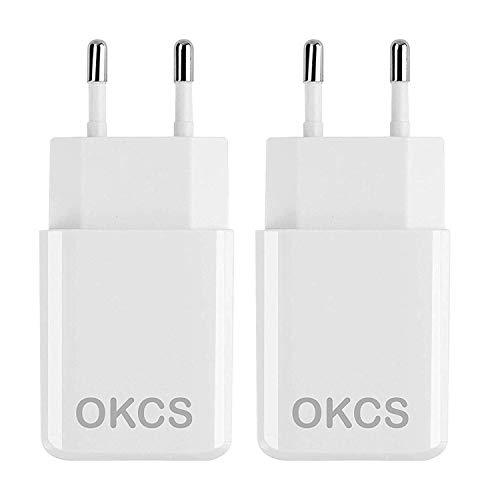OKCS USB Netzteil 2 x 10W - USB Ladestecker Adapter (5V / 2A) - Ladeadapter Ladegerät kompatibel mit iPhone X/iPad, Galaxy Smartphone, S9 / Tab A etc. - Weiß -