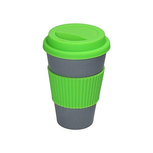 BIOZOYG Umweltschonend & modern - to go Kaffeebecher Bambus I Bambus to go Cup in grau, mit Deckel aus Silikon und Silikonmanschette in trendigem grün I Coffee Cup Bamboo 375ml