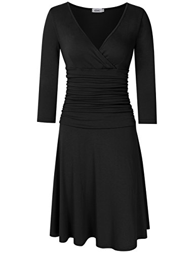 Frauen-reizvoller V-Ansatz 3/4 Hülse, die elegante Taillen-Übergangs-Geschäft beiläufige A-Linie Kleider abnimmt (M, Schwarz) (Kleid Wrap-stil Röcke)