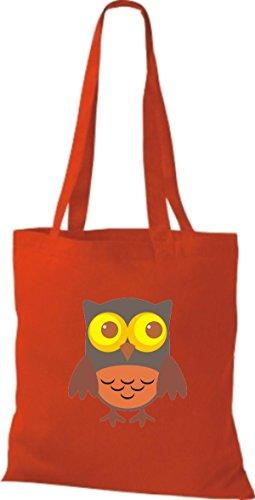 ShirtInStyle Jute Stoffbeutel Bunte Eule niedliche Tragetasche mit Punkte Karos streifen Owl Retro diverse Farbe, rot