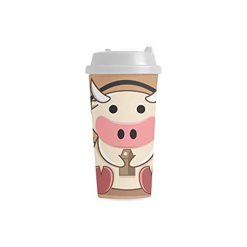 e Tierkarikatur Gewohnheits personalisierter Druck 16 Unze Doppelwand Plastikisolierte Sport Wasser Flaschen Schalen Pendler Reise Kaffeetassen für Studenten Frauen Milch Teetasse ()