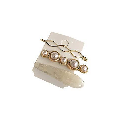 Pearl Hairpin,1 stück Frauen Legierung Perle Haarspangen Marmor Strukturierte Faux Perle Decor Gerade Seite Haarspangen Haarspangen (C)