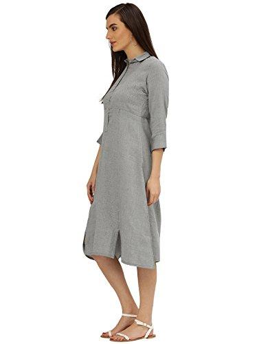 Desi-Fusion-Womens-A-Line-Black-Self-Print-Handloom-Dress