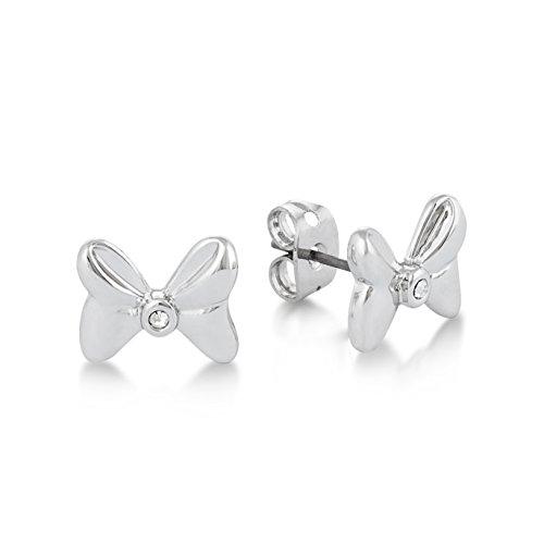 Pendientes de lazos de Minnie Mouse de Disney; chapados en oro blanco con cristal