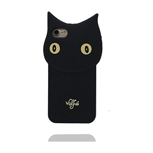 """iPhone 6 (4.7"""") Coque, [Lucky Cat, chat TPU durable et flexible] couverture étui pour iPhone 6s, iPhone 6 (4.7"""") Case, anti-chocs, des empreintes digitales, les égratignures noir 1"""