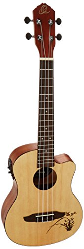 Ortega Guitars RU5CE-TE Fichten-/Sapeleholz Tenor Ukulele (Cutaway, Tonabnehmer, Tortoise Style ABS binding, Laser Gravur)