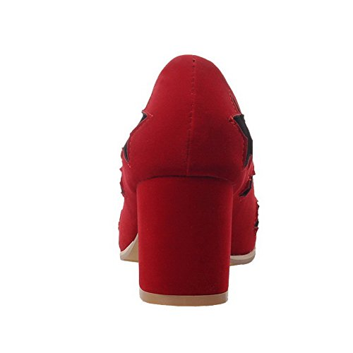 AllhqFashion Damen Nubukleder Quadratisch Zehe Gemischte Farbe Ziehen Auf Pumps Schuhe Rot