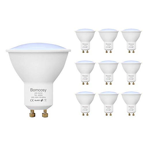 Bomcosy Pack de 10 Bombillas LED GU10 7W