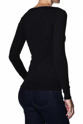 Salsa - Pull branding en tricot - Femme Noir