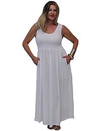 LOTUSTRADERS Damen Boho Gesmocktes Kleid