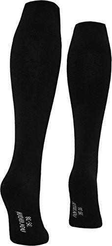 3 Paar Damenkniestrümpfe Kniestrümpfe ohne einschneidenden Gummibund mit Frottee Fuß Schwarz Größe 35/38