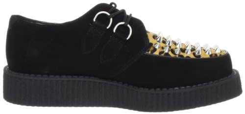 T.U.K. Shoes Mondo Lo Creeper With Cone Studs, Chaussures basses mixte adulte Noir (Black & Leo Print)