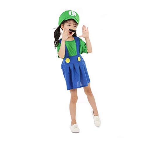 nkostüm für Jungen und Mädchen, Super Mario, Bühnenauftritt, Make-up, Party, Geburtstag, Geschenk, Kostüm, Set + Maske + Schnurrbart, Rot, Grün, S-L 95-140 cm ()