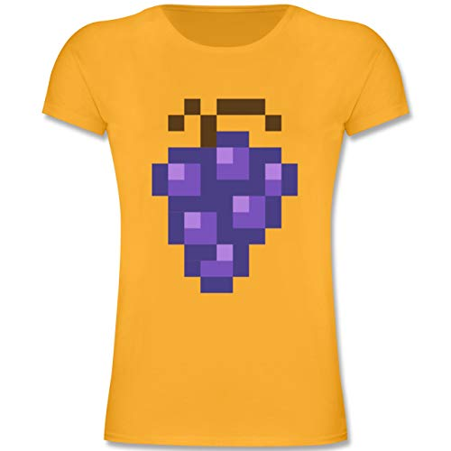 Nerd Kostüm Sexy Girl - Karneval & Fasching Kinder - Pixel Traube - Karneval Kostüm - 104 (3-4 Jahre) - Gelb - F131K - Mädchen Kinder T-Shirt