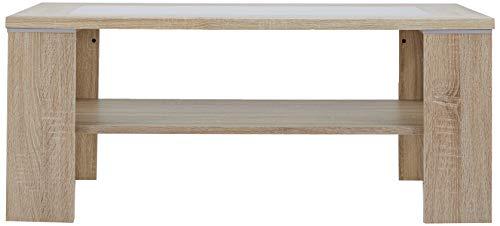 Tavolino Milano in legno di rovere 100 x 65 cm con inserto in vetro a effetto lattiginoso Alfa-Tische M1500