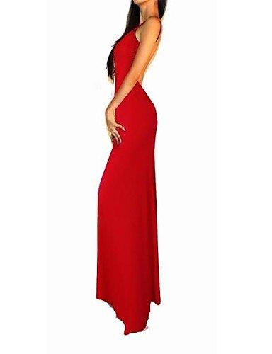 PU&PU Robe Aux femmes Gaine Sexy / Soirée / Travail / Décontracté / Plage , Couleur Pleine V Profond Maxi Coton PURPLE-XL