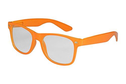 X-CRUZE 1-023 X 07 Nerd Brille ohne Stärke Vintage Retro Style Stil Klarglas Hornbrille Modebrille Unisex Herren Damen Männer Frauen Streberbrille hellorange -