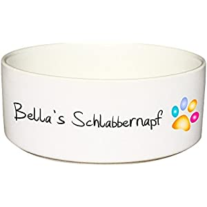 CADOURI - Keramik Hundenapf Futternapf Fressnapf SCHLABBERNAPF-Schriftzug und Name deines Hundes - 650 ml