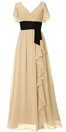 MACloth Women V Neck Short Sleeve Long Bridesmaid Dress Mother Formal Party Gown Champagner