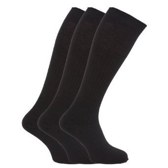 Herren gerippte Kniehohe 100% Baumwolle Socken (Packung Mit 3) EU 39-45 Schwarz
