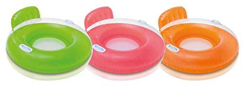 Intex Schwimmreifen mit Rückenlehne orange ø102cm Pool Sitz fürs Planschbecken Schwimmring Schwimmsitz