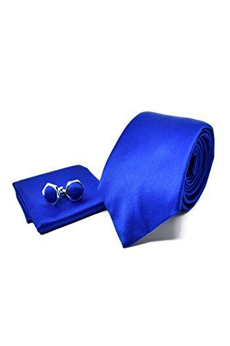 Oxford Collection Corbata de hombre, Pañuelo de Bolsillo y Gemelos Azul - 100% Seda - Clásico, Elegante y Moderno - (Caja y Conjunto de Regalo, ideal para una boda, con un traje, en la oficina.)